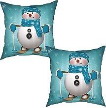 Gggo 2Pcs Cushion Covers Skiing with Snowflakes