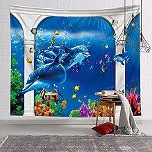 GGSDDU Dolphin Underwater World Fish Tapestry Cute