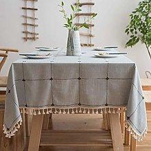 GH-YS Tablecloths Cotton Linen Rectangle,