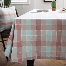 GH-YS Tablecloths Gingham, rectangle Cotton Linen