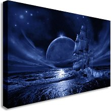 Ghost Ship At Sea + Moon Absract Wall Picture