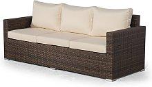 Giardino Brown Large Rattan 3 Seater Sofa Outdoor