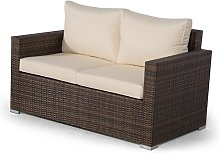 Giardino Brown Rattan 2 Seater Sofa Loveseat
