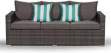 Giardino Grey Large Rattan 3 Seater Sofa Outdoor