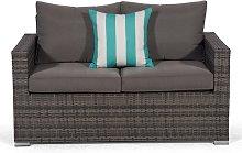 Giardino Grey Rattan 2 Seater Sofa Loveseat