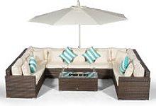 Giardino Havana 9 Seater Brown Rattan Sofa Set +