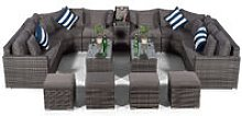 Giardino Santorini Large 8 Seater Grey Rattan Sofa
