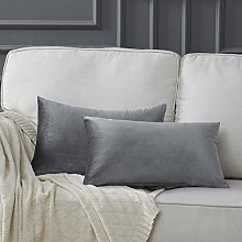 Gigizaza Velvet Grey Cushion Covers 12 x 20 Inch