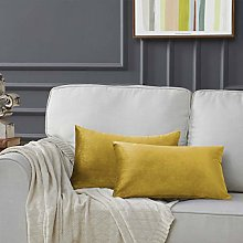 Gigizaza Velvet Yellow Cushion Covers 12 x 20 Inch