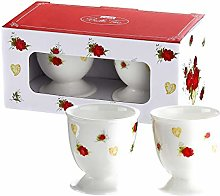 Gilde Egg Cup White Rose Design