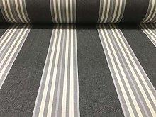 Gilford Woven Stripe Grey/Ivory Cotton Curtain