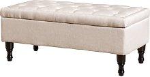 Gillian Storage Ottoman Hykkon Upholstery: Linen