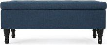 Gillian Storage Ottoman Hykkon Upholstery: Navy
