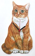 Ginger and White Cat Clock - C15