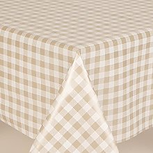 GINGHAM CHECK BEIGE WIPE CLEAN PVC TABLECLOTH