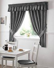 Gingham Check Black White Kitchen Curtains Drapes