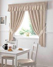 Gingham Check Cream Beige Kitchen Curtains Drapes
