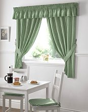 Gingham Check Green White Kitchen Curtains Drapes