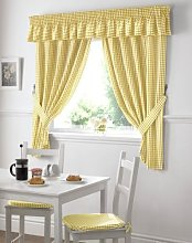 Gingham Check Yellow White Kitchen Curtains Drapes