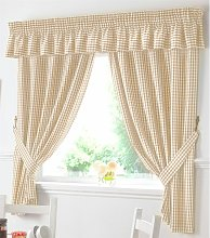 Gingham Kitchen Curtains Beige Pelmet 136 x 10