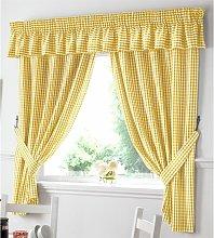 Gingham Kitchen Curtains Yellow Pelmet 136 x 10