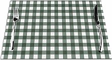 Gingham Plaid Check Bottle Green PVC Placemats for