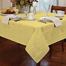 "Gingham Yellow 60"" x 90"" Tablecloth"