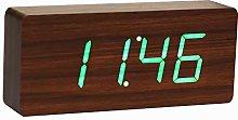 Gingko Slab Walnut Click Clock-Green LED