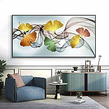 Ginkgo Leaf And Feather Canvas Print Painting