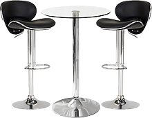 Gino Bistro Bar Table With 2 Black Leather Nigella