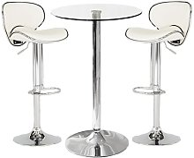 Gino Bistro Bar Table With 2 White Leather Nigella