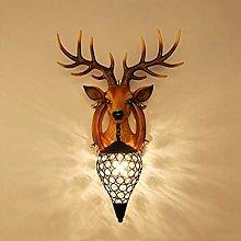 GIOAMH Crystal Pendant Wall Lamp, Creative Antlers