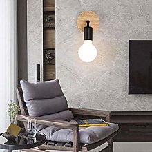 GIOAMH Retro Iron Solid Wood Wall Lights Fixture