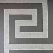 Giorgio Greek Key Wallpaper Belgravia Gunmetal