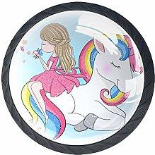 Girl and Unicorn Knob Handles Door Knobs Cabinet