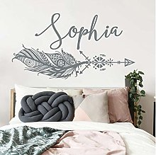 Girl Custom Name Wall Decal Feather Decal Vinyl