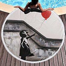 Girl With Balloon Printed Round Beach Towel Yoga
