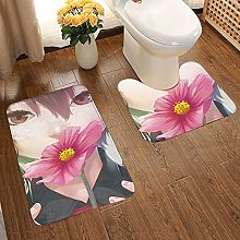 Girl With Brown Hair Soft Flannel Floor Mats