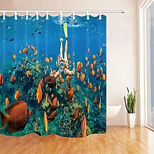 Girl with tropical fish in the ocean shower