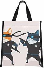 Girls Lunch Bag Black Cool Ninja Cat Cooler Bags