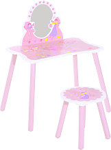 Girls Pink Wooden Kids Dressing Table & Stool Make