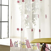 Girls Room Voile Curtains Candy Embroidery Sheer
