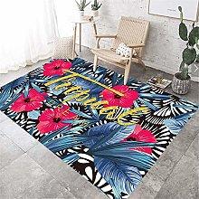 girls rug Living room rug red flowers blue leaves