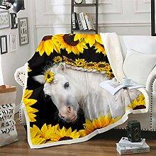 Girls White Horse Fleece Blanket Chic Sunflowers