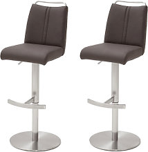 Giulia Brown Leather Bar Stool In Pair With Steel