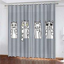 Giunuak 3D Eyelet Curtain Abstract Cat Super Soft