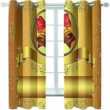 Giunuak 3D Eyelet Curtain Christmas Kids Bedroom