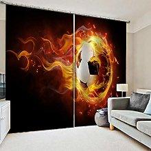 Giunuak 3D Eyelet Curtain Flame Football Curtain
