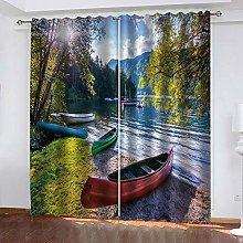 Giunuak 3D Eyelet Curtain Seaside Boat,Kids