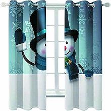 Giunuak 3D Eyelet Curtain Snowman Bedroom Living